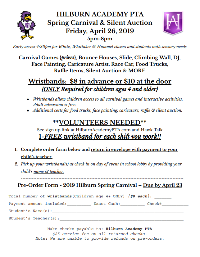 Carnival & Silent Auction Wristband flyer